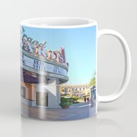 movies Mugs featuring Day at the movies by Debra Slonim Art & Design