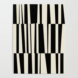 BW Oddities III - Black and White Mid Century Modern Geometric Abstract Poster
