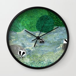 Badgers amongst the bluebells Wall Clock