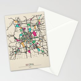 Colorful City Maps: Beijing, China Stationery Cards
