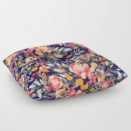 Navy Floral Floor Pillow