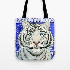 White Tiger in blue Az024 Tote Bag