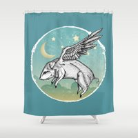 pigs Shower Curtains featuring Pigs Fly by Mary Machare