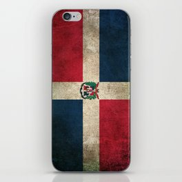 Old and Worn Distressed Vintage Flag of Dominican Republic iPhone Skin