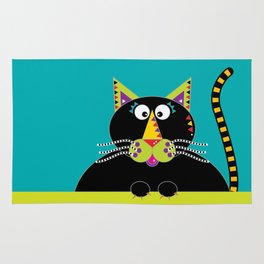 Cross-eyed kitty cat Rug
