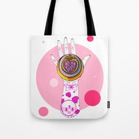 chibi Tote Bags featuring Chibi Moon by scoobtoobins