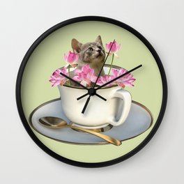 Grey Kitty Cat in Cup with Lotus Flower Wall Clock