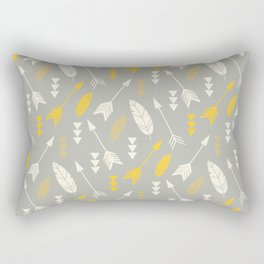 Bohemian feathers and arrows, beige and yellow on gray Rectangular Pillow