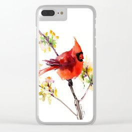 Cardinal Bird in Spring Clear iPhone Case