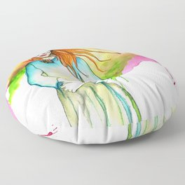 Red Haired Girl with Glasses, Head in the Clouds Floor Pillow