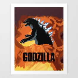 Burning Godzilla Art Print
