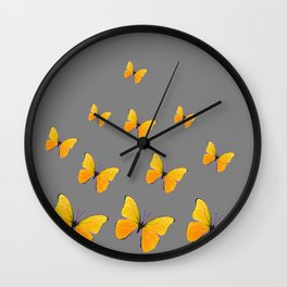YELLOW BUTTERFLIES CHARCOAL GREY ART Wall Clock