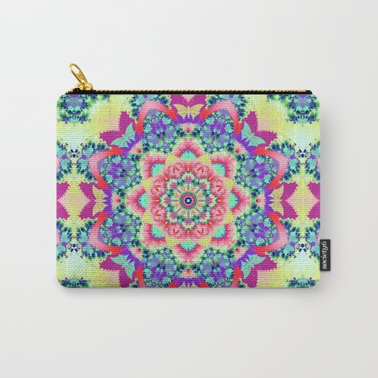 Whimsical floral kaleidoscope with butterflies Carry-All Pouch