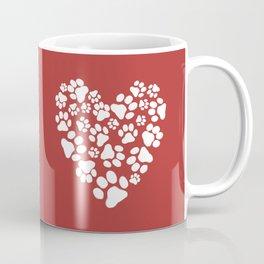 Dog Paw Prints Heart Coffee Mug