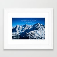 the mountains are calling Framed Art Prints featuring The Mountains are Calling by Michelle McConnell
