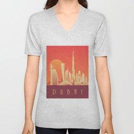 Dubai City Skyline Retro Art Deco Tourism - Sunset Unisex V-Neck