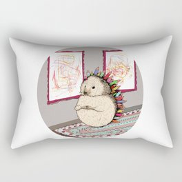 Hedgehog Artist Rectangular Pillow