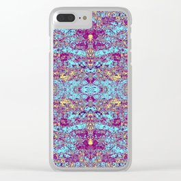 Pulple Blue Beige Butterfly Clear iPhone Case