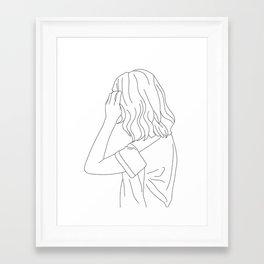 Fashion illustration line drawing - Cain Framed Art Print