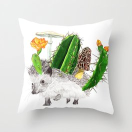 Hedgehog with Cacti Throw Pillow