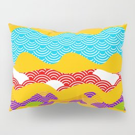 Summer bright pattern  scales simple Nature background with Chinese wave circle pattern Pillow Sham