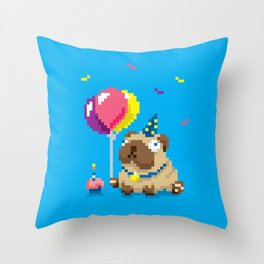 It's Puggin' Party Time! Throw Pillow