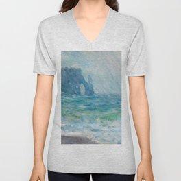 1886-Claude Monet-Regnvær, Etretat-60 x 73 Unisex V-Neck