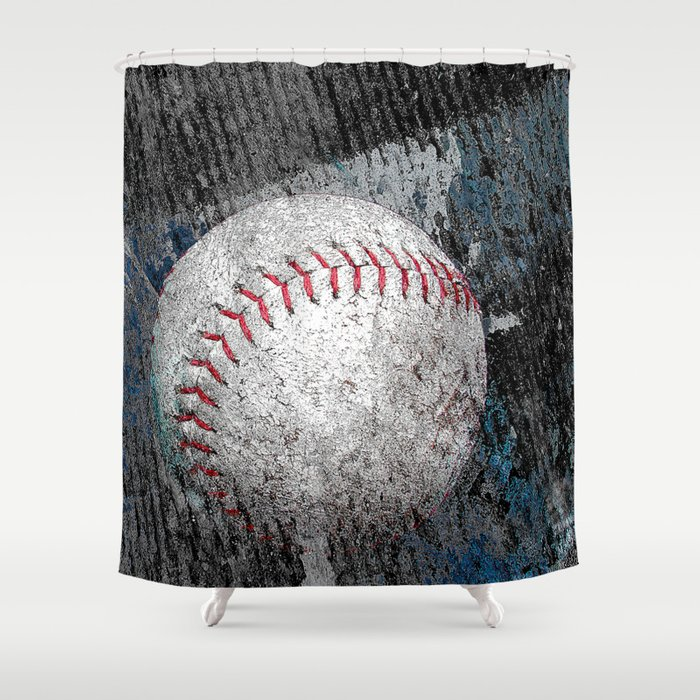 Baseball print work vs 1 Shower Curtain