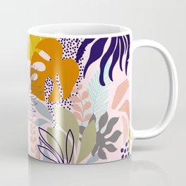 Tropical Retro Boho Foliage Pattern - Pink Coffee Mug