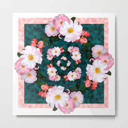 Bordered pink and white blossoms Metal Print
