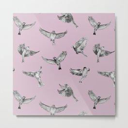 Birds in Flight in Pink and Grey Metal Print