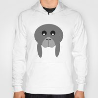 manatee Hoodies featuring Fat Manatee by Bunhugger Design