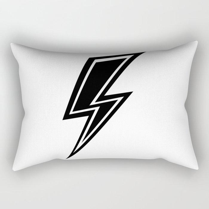 Lightning - Black and White Rectangular Pillow