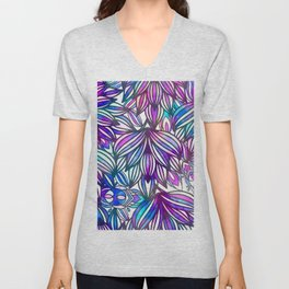 Hand painted neon pink teal blue watercolor floral Unisex V-Neck