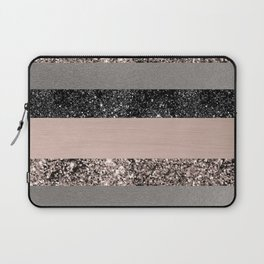Blush Glitter Glam Stripes #1 #shiny #decor #art #society6 Laptop Sleeve