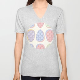 Foliage Easter Eggs Pattern Unisex V-Neck
