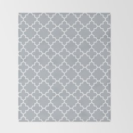 Classic Quatrefoil pattern, silver grey Throw Blanket