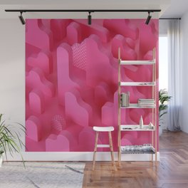 Abstract Shapes in Pink Wall Mural