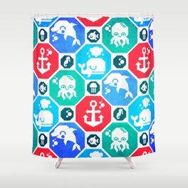 Marine Animals Geometric Pattern Shower Curtain