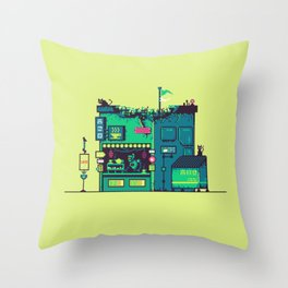 Cyberpunk Tea Shack Throw Pillow
