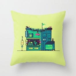 Cyberpunk Tea Shack Throw Pillow