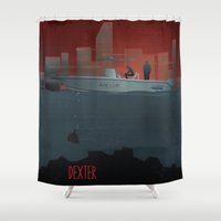 dexter Shower Curtains featuring DEXTER by ketizoloto