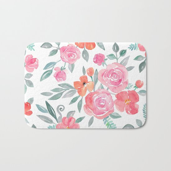 Amelia Floral in Pink and Peach Watercolor Bath Mat