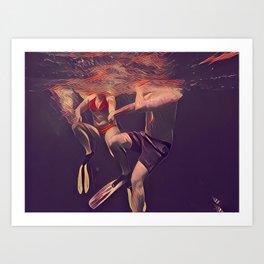 Swimming underwater Art Print