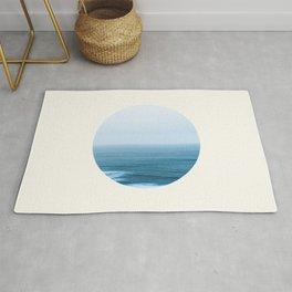 Mid Century Modern Round Circle Photo Minimalist Blue Ocean Horizon Rug