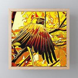 blue yellow breasted macaw parrot bird vector art ember Framed Mini Art Print