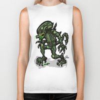 xenomorph Biker Tanks featuring Xenophobe?  Well, yeah...  This Alien spits acid! The Aliens Xenomorph Alien! by beetoons
