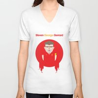 liverpool V-neck T-shirts featuring Steven Gerrard Liverpool Illustration by Gary  Ralphs Illustrations