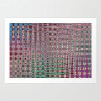 Pink Brown Blue Geometric ornament abstract Art Print