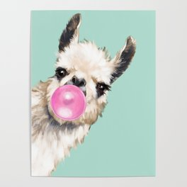 Bubble Gum Sneaky Llama in Green Poster